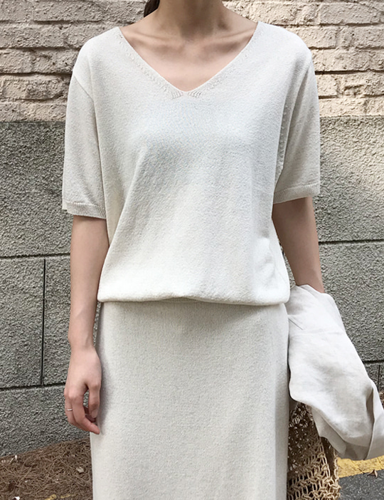 LINEN V-NECK KNIT (3COLOR)