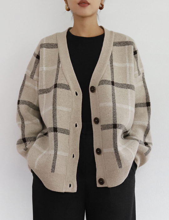 WOOL CHECK CARDIGAN (2COLOR)