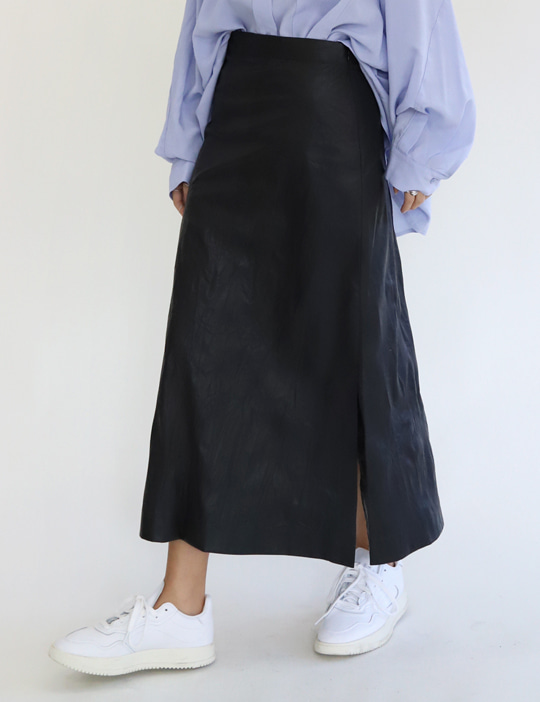 [stock sale] VINTAGE LEATHER A SKIRT (2COLOR)