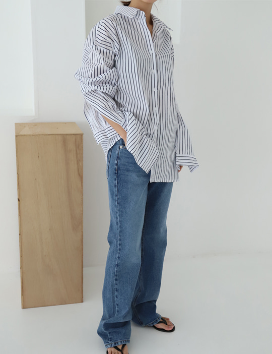OPEN-SLEEVE STRIPE SHIRTS (2COLOR)