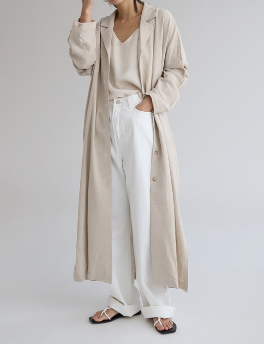 LINEN TRENCH COAT (2COLOR)